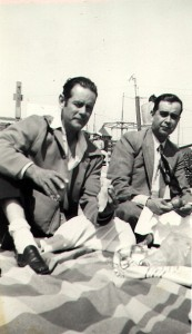 Honorio (Harry) and Jaime Llamas Garcia on the beach at Santa Monica