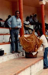 Our cousin Jose de Jesus buying chicharones