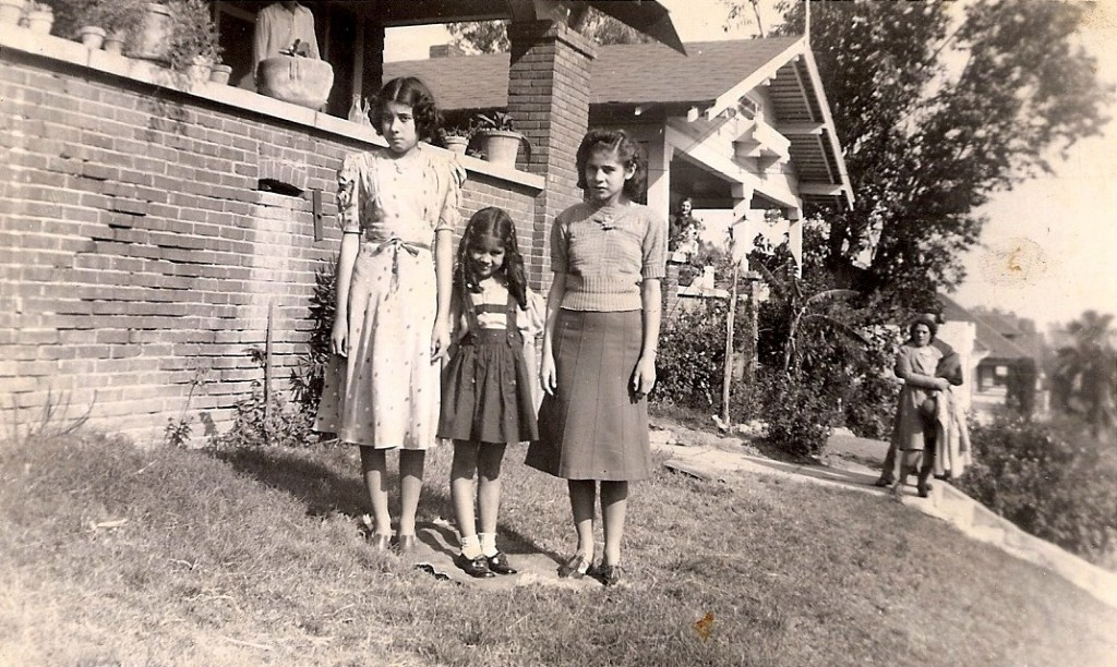 741 Solano Ave. In foreground: Gracie, Camille, Thelma. Mother and Father in backround